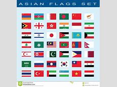 Set Of Asian Flags, Vector Illustration Vector