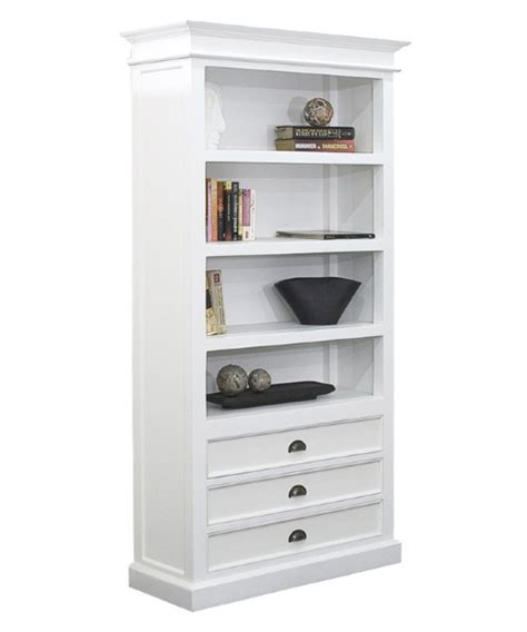 Halifax White Mahogany Bookcase With 3 Drawers Bookcases