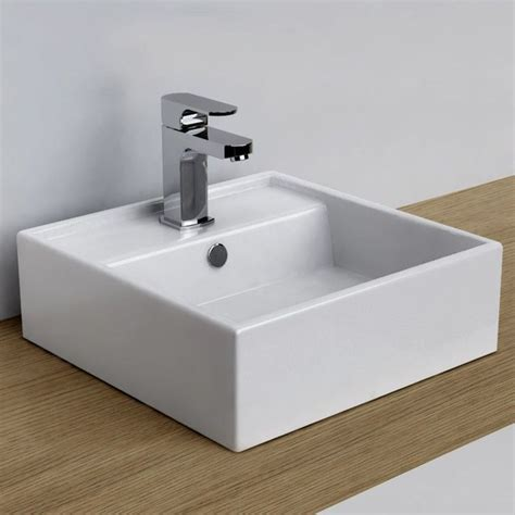 vasque 224 poser carr 233 e 38x38 cm plage de robinetterie c 233 ramique design