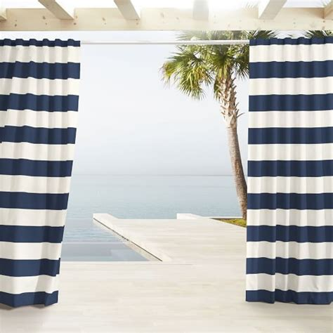 outdoor stripe curtains navy west elm