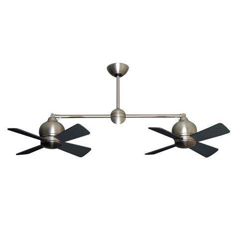 metropolitan dual motor ceiling fan modern styling with halogen light satin steel