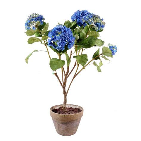 hortensia artificiel bleu 105 cm de haut 75 cm large pot terre cuite
