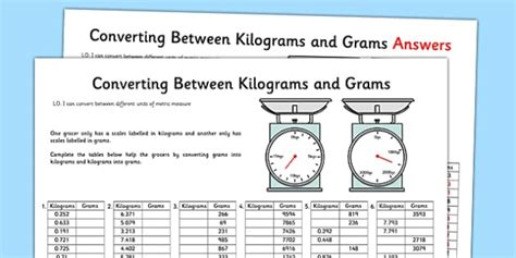 converting between grams and kilograms activity sheet