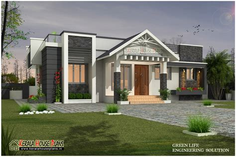 Beautiful Modern Single Floor House Design  Kerala House
