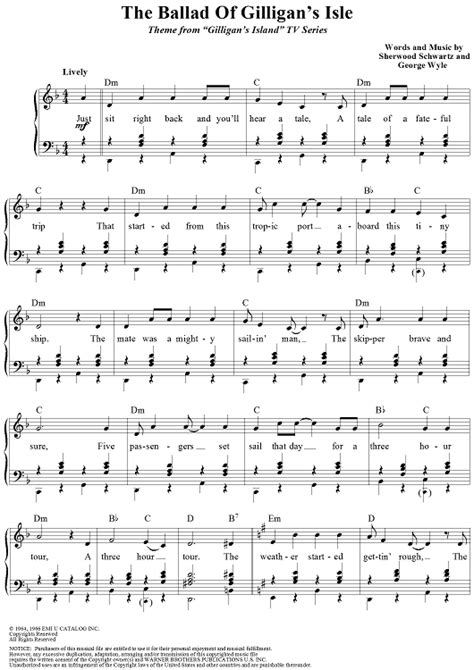 Love Boat Theme Guitar Chords by The Ballad Of Gilligan S Isle Sheet Music For Piano And