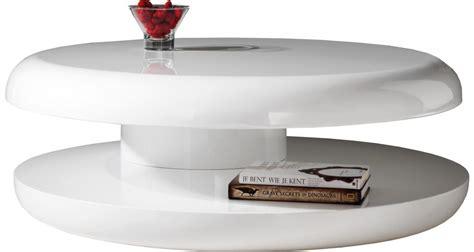 table basse design ronde laque blanche plateau tournant destock meubles ventes pas cher