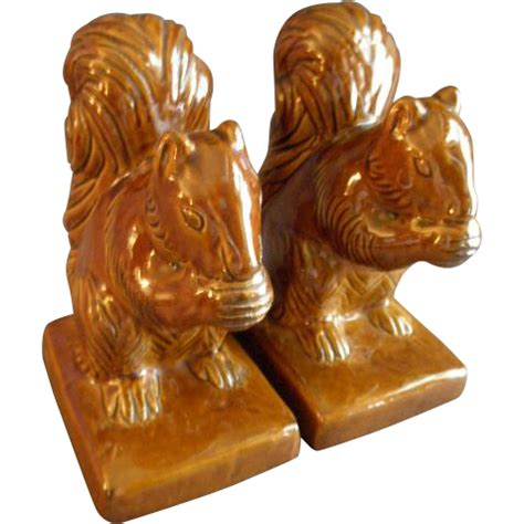 briggle pottery pair figural squirrel bookends brown high from brysantiques on ruby