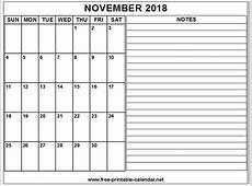 Printable Calendar 2018 November Download & Print