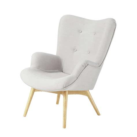 fauteuil vintage en tissu gris clair iceberg maisons du monde