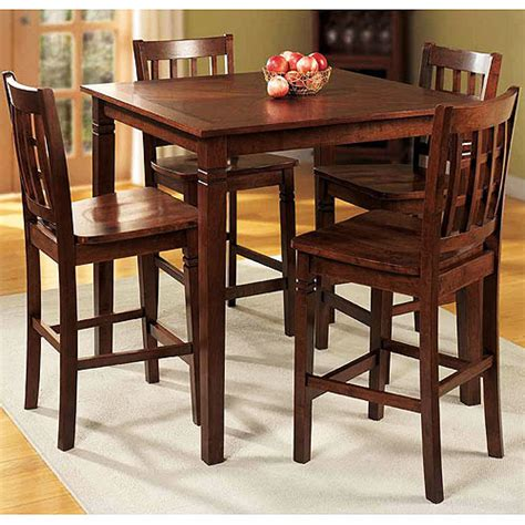 Kitchen Table Chairs At Walmart by Walnut Counter Height Walnut Dining Set 5 Pieces