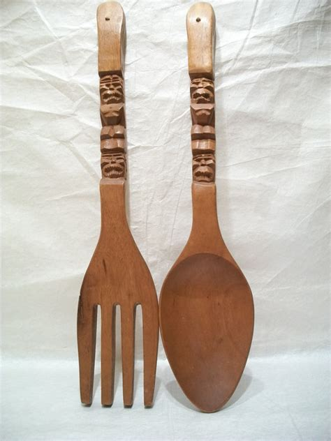 large vintage wooden fork and spoon wall decorations by ginicrafts