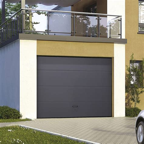 porte de garage sectionnelle motoris 233 e excellence rainures horizontales 2x3m leroy merlin
