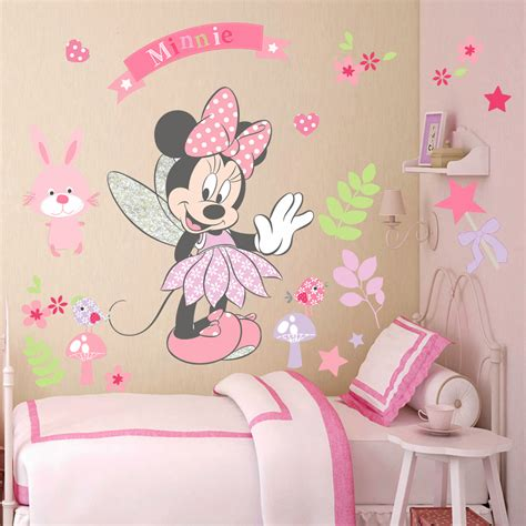 pink minnie mouse wall stickers mural vinyl decals bedroom decor ebay