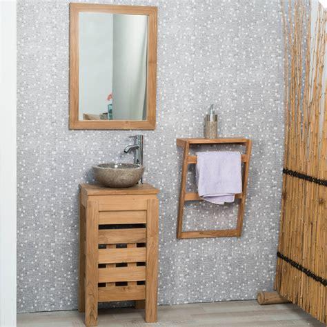 meuble sous vasque simple vasque en bois teck massif zen rectangle naturel l 40 cm