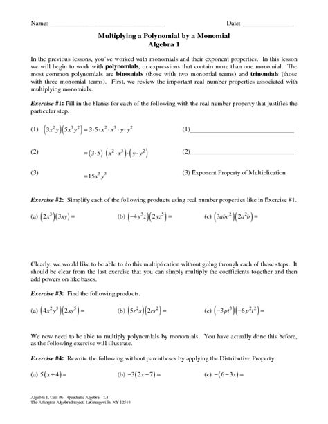 Multiplying Polynomials By Monomials Worksheet Pdf  Adding And Subtracting Matrices Worksheet