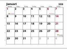 Januari 2018 kalender Download Free Printable Calendars