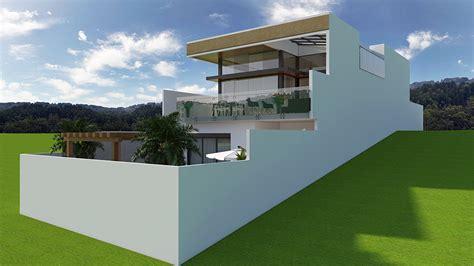 Fachada De Projeto De Casa Com Arquitetura Moderna Em