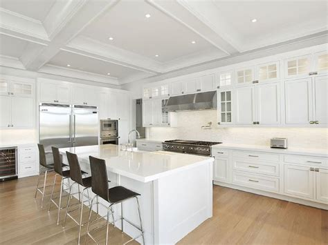 White Kitchen Island With Dark Wood Barstools