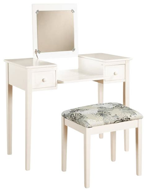 linon vanity set with white butterfly bench in white transitional bedroom vanities by