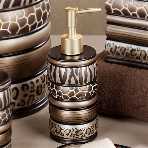 leopard print bathroom decor set safari stripes animal print bath accessories