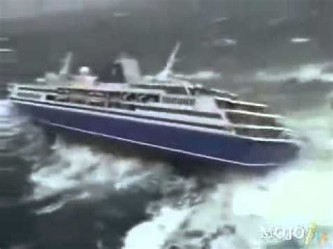 Ship Vs Boat Turning by 1000 Passenger Cruise Ship Almost Down By The Tsunami
