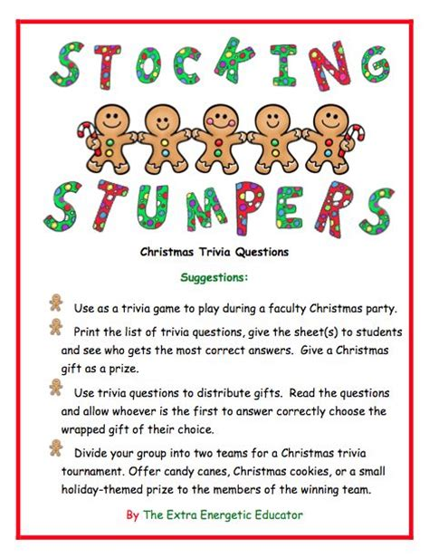 Stocking Stumpers Christmas Trivia Game  Stockings, Plays And Student