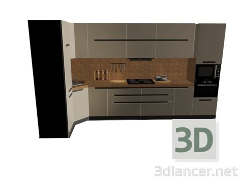 D Model Kitchen Set In The Style Of High-tech Id