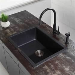 kraus kgd410b 24 inch undermount drop in single bowl granite kitchen sink with 8 2 3 inch bowl