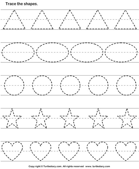 Tracing Basic Shapes Worksheet  Turtle Diary
