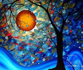 contemporary modern original abstract landscape painting blue essence by megan duncanson