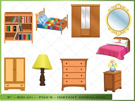 items similar to furniture clipart clip of bedroom furniture commercial use instant