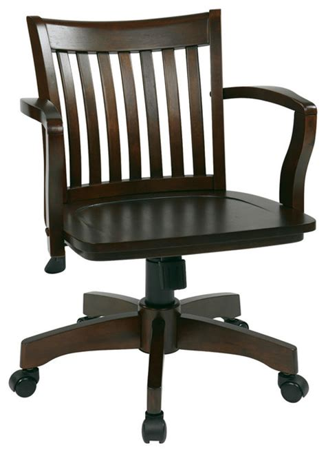 deluxe wood banker s chair with wood seat in espresso wood finish transitional office chairs