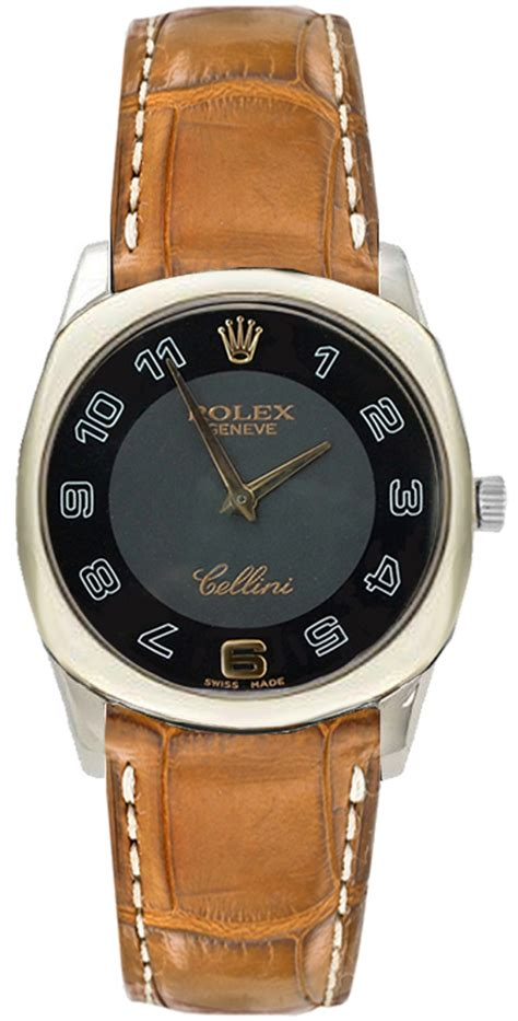 42339 Black & Gold Rolex Cellini Danaos Brown Alligator Strap