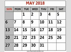 May 2018 printable Calendars