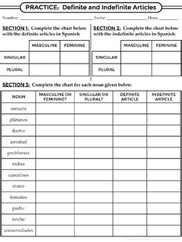 Spanish 1  Gender And Definite & Indefinite Articles  Worksheets And Notes