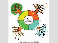 Vecteur Clipart de quatre, Saisons, calendrier, conception