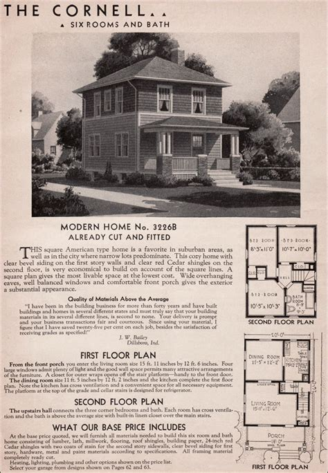 sears kit homes 1936 cornell american foursquare house plan