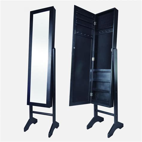 new black mirrored jewelry cabinet armoire stand mirror rings necklaces