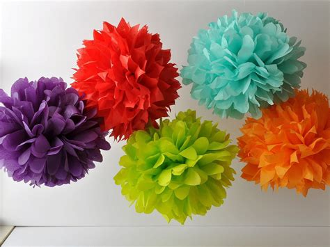 neon paper pom poms wedding decor onewed