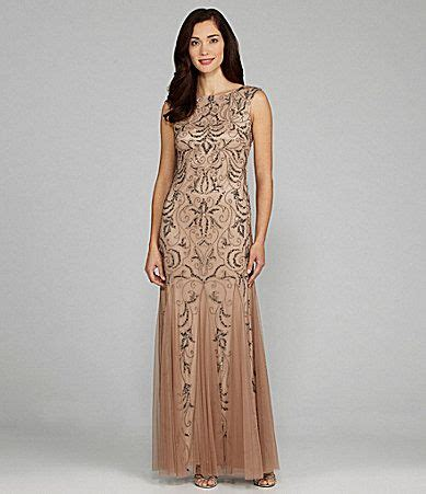 Adrianna Papell Beaded Boat Neck Cap Sleeve Gown by Adrianna Papell Cap Sleeve Scoop Back Beaded Gown Beaded