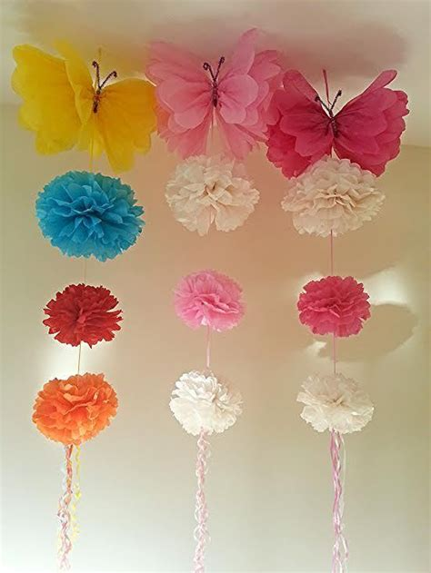 hanging ceiling decorations tissue paper pom poms birthday ebay