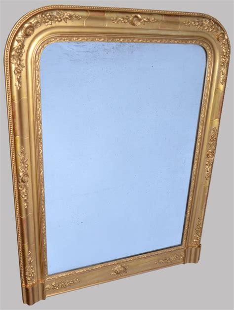 beau miroir ancien platre et bois dor 233 224 poser