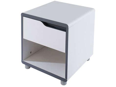 chevet 1 tiroir moby coloris blanc gris vente de chevet conforama