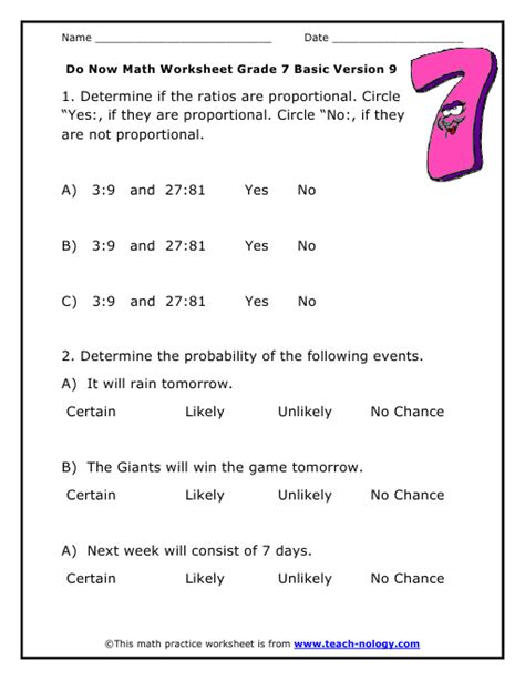 Do Now Math Grade 7 Basic Version 9