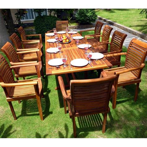 salon de jardin grande table et fauteuils en teck huil 233 wood en stock