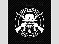 US Army Retired Logo Decal Skull Military Vinyl Decal