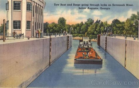 Tow Boat Us Savannah Ga by Tow Boat And Barge Going Through Locks On Savannah River
