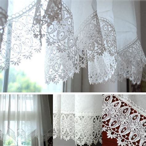 white lace embroidered curtain finished kitchen curtain cafe curtain in curtains from home