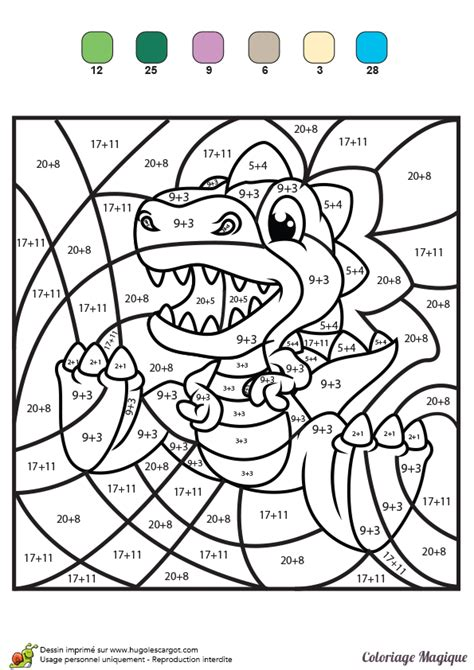 coloriage magique additions tyranosaure rex color by number for adults and children