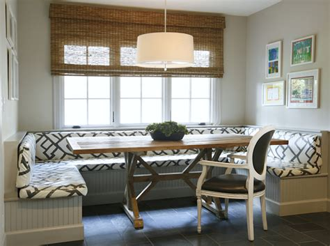 built in banquette transitional dining room caldwell flake